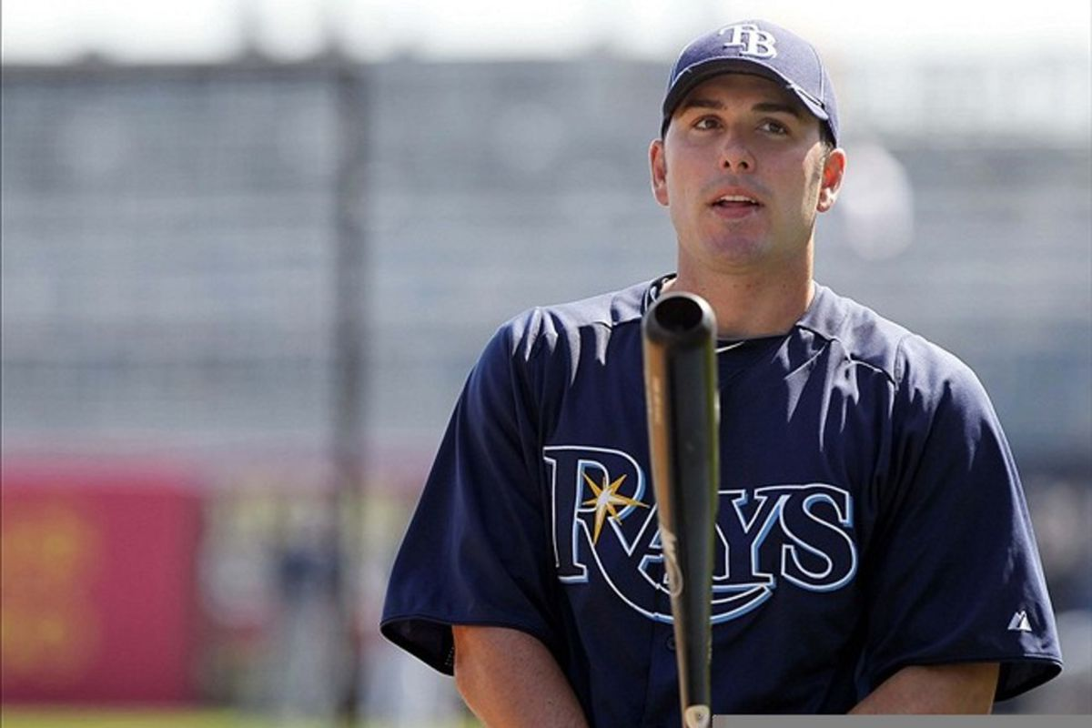 March 7, 2012; Tampa, FL, USA; Tampa Bay Rays right fielder Matt Joyce (20) prior to the game against the New York Yankees during spring training at George M. Steinbrenner Field. Mandatory Credit: Kim Klement-US PRESSWIRE