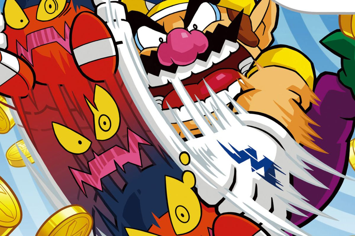 Wario Land: Shake It! - Wario brings a skateboard down on his enemies, surrounded by falling gold coins