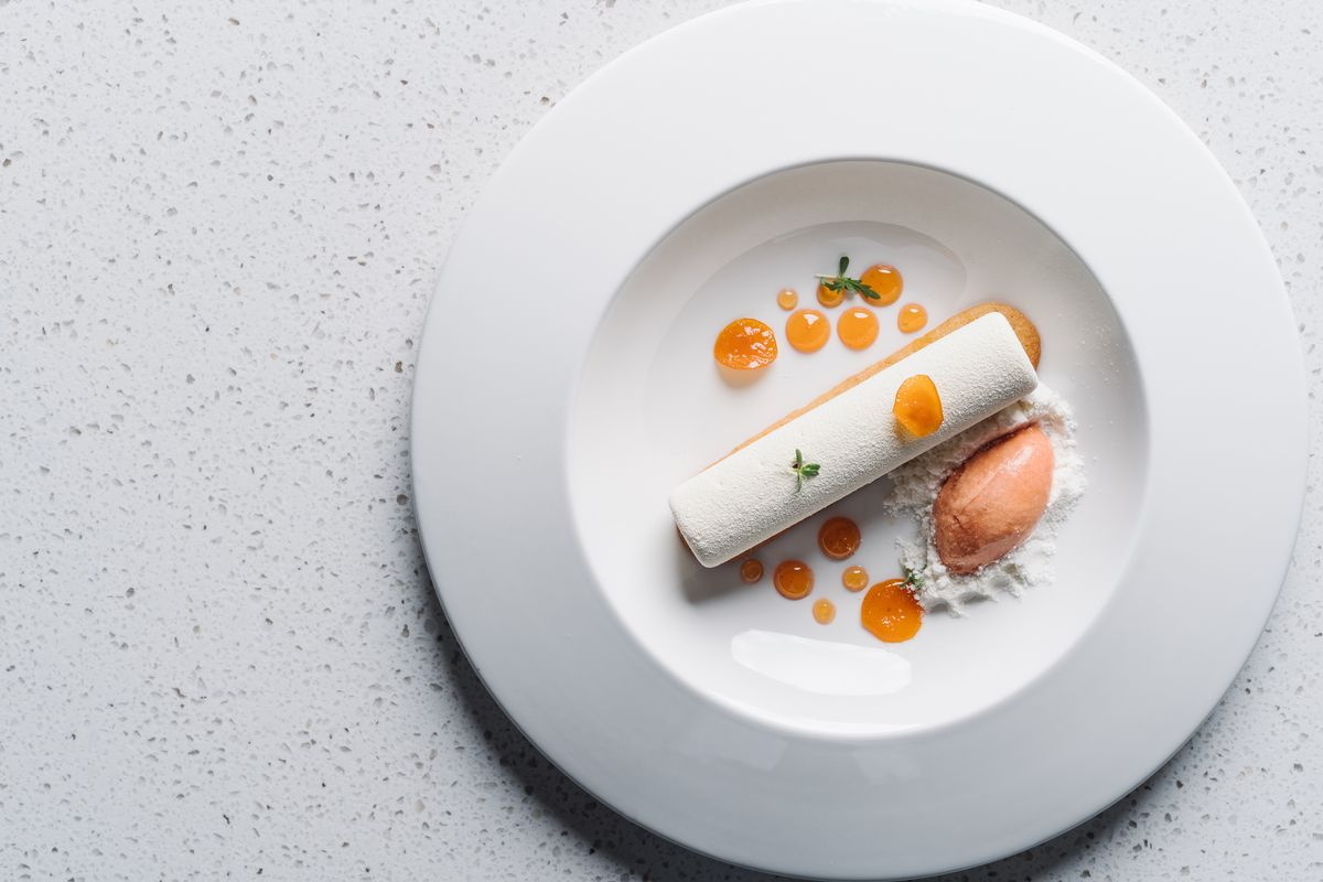 """""""Creamsicle"""" with citrus compote and white chocolate at Lazy Betty"""