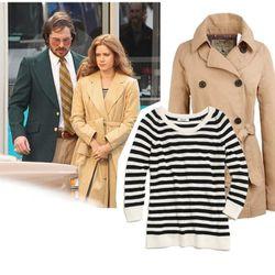 "Striped Harbor Sweater, $68 at <a href=""http://www.madewell.com/madewell_category/SWEATERS/pullovers/PRDOVR~02054/02054.jsp?srcCode=MWAFFI00001&siteId=Hy3bqNL2jtQ-EQ7Pbqr9TmZF5_Ag.Rz96g"">Madewell</a>;  Reversible Trench Coat, $198 at <a href=""http://www.j"