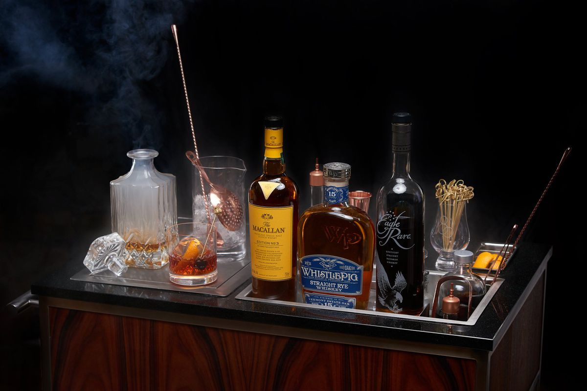 Whiskeys on a cart