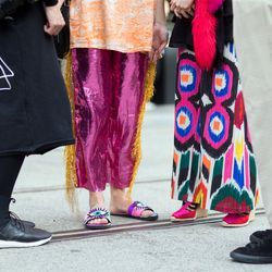 Outside of the Di$count Univer$e show at Fashion Week Australia.