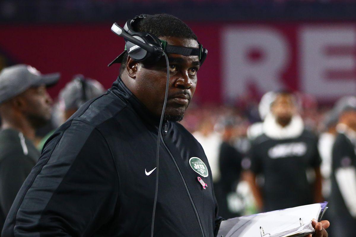 New York Jets defensive line coach Pepper Johnson against the Arizona Cardinals at University of Phoenix Stadium.