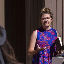 Meleeza Hall ministers to the small congregation during the 9:30 a.m. nondenominational Christian church service in Bryce Canyon National Park, Sunday, June 18, 2017.