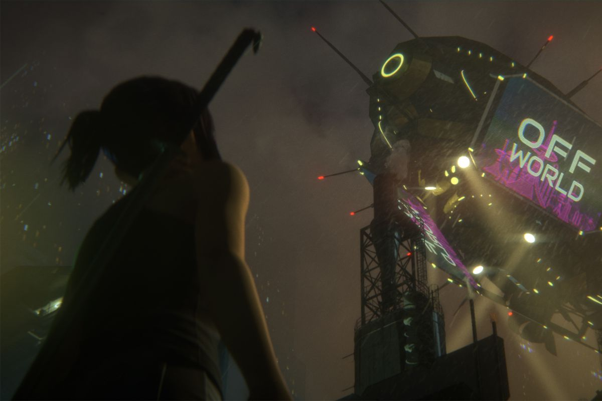 Elle from Blade Runner: Black Lotus look up at a blimp in the sky
