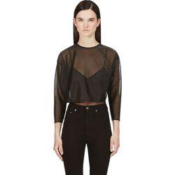 "<b>Saint Laurent</b> blouse, <a href=""https://www.ssense.com/women/product/saint_laurent/black-metallic-threading-crop-blouse/100336"">$165</a>"