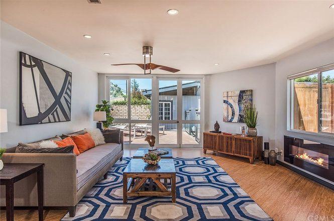 Living room with glass door
