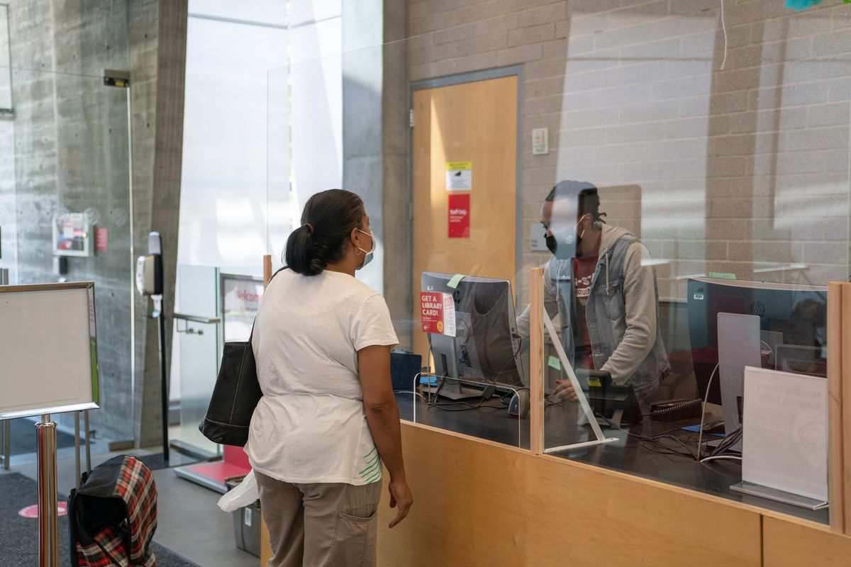 The Kingsbridge Library in The Bronx reopens with capacity restrictions during the coronavirus epidemic, Aug. 3, 2020.