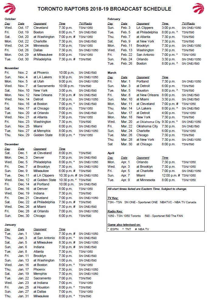 NBA Schedule: Raptors announce TV broadcast schedule for