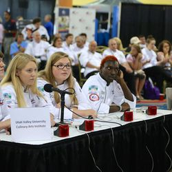 Students from the Utah Valley University Culinary Arts Institute compete at the American Culinary Federation's Culinary Knowledge Bowl during the federation's Cook. Craft. Create. national convention on July 8-13 in Orlando, Florida. The team took second place in the competition.