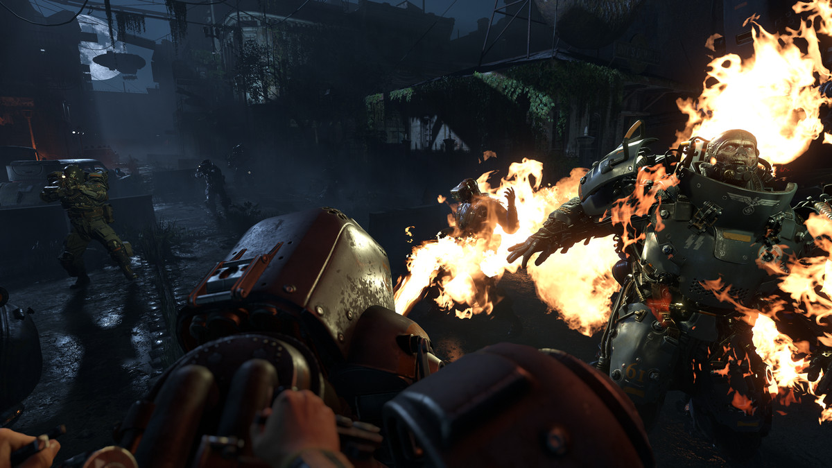 Wolfenstein 2: The New Colossus - being attacked by a Panzerhund