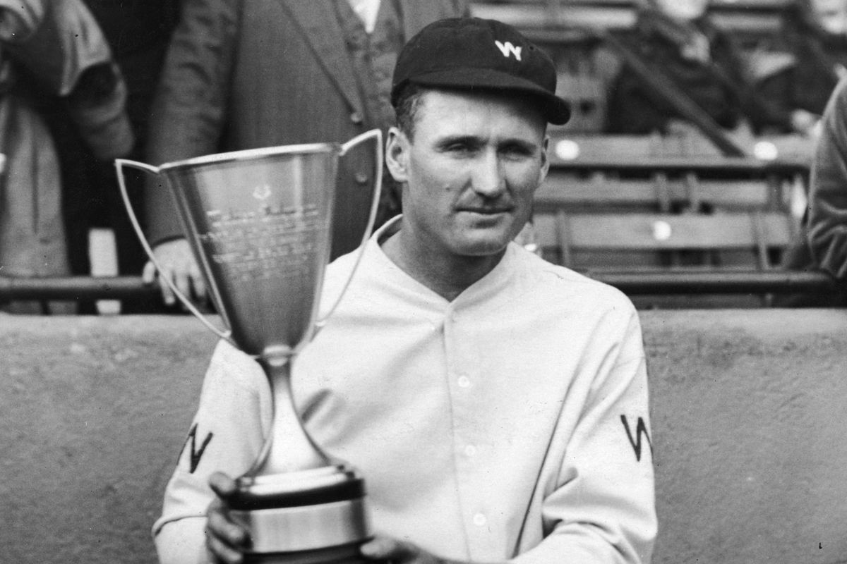 Hall of Famer Walter Johnson holds up an award. Should the SB Nation trophies look like this?