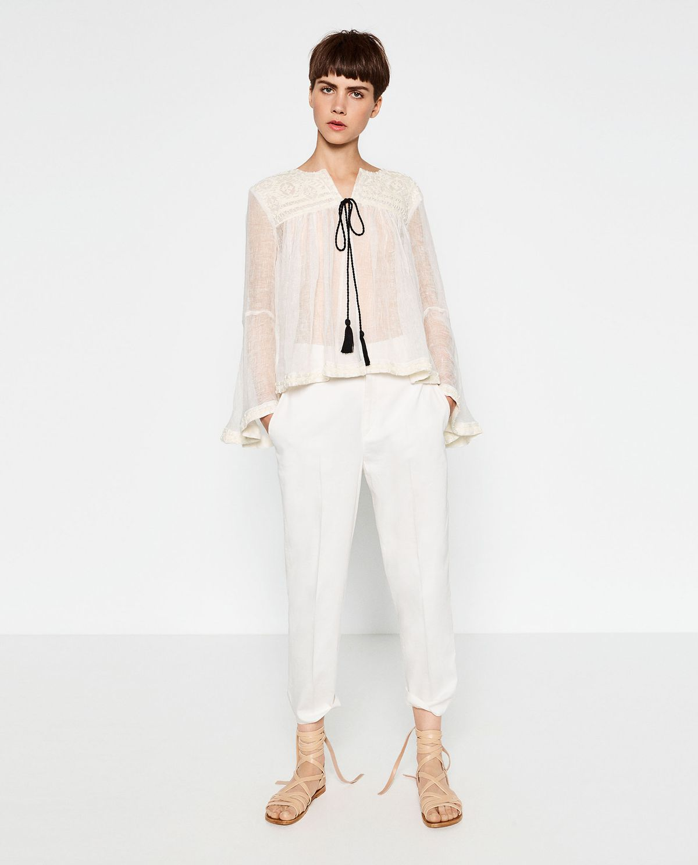 Zara embroidered linen top