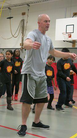 Dalton Elementary P.E. teacher Rob Johnson demonstrates Bokwa steps on a recent afternoon.