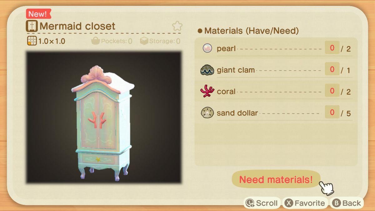 An Animal Crossing recipe for a Mermaid Closet