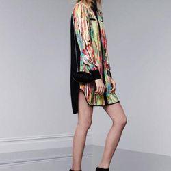 Shirtdress in Nolita print, $39.99; lace miniaudiere, $34.99; wedge sandals, $29.99