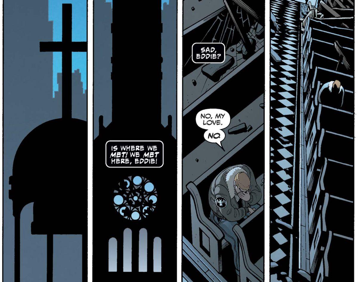 """Sad, Eddie?"" asks the Symbiote. ""No, my love. No."" he replies, looking very sad in a church pew in Venom #150, Marvel Comics (2017)."