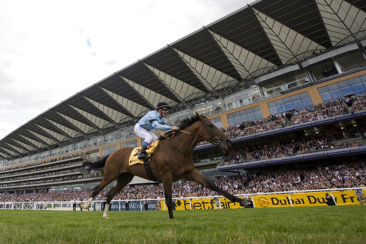 ASCOT, ENGLAND - JULY 24: Harbinger and Olivier Peslier win The King George VI And Queen Elizabeth Stakes at Ascot racecourse on July 24, 2010 in Ascot, England (Photo by Alan Crowhurst/ Getty Images)
