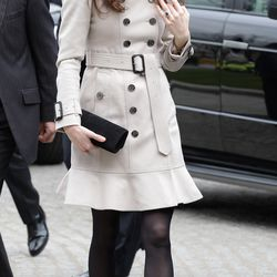 In a Burberry trench on March 8th, 2011 during a trip to Northern Ireland.
