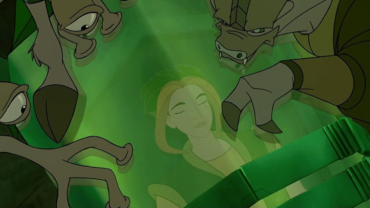 akima trapped in some green crystal pod