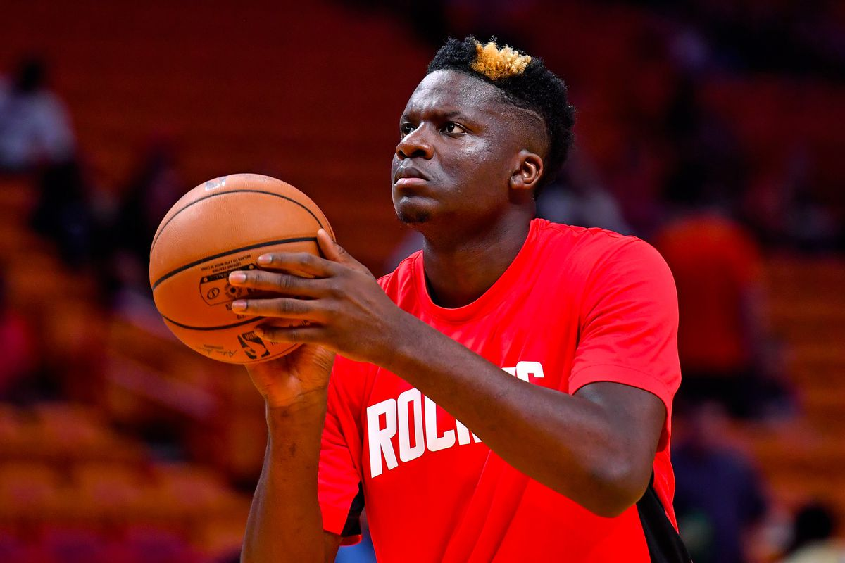Houston Rockets center Clint Capela warms up before a game against the Miami Heat at American Airlines Arena.