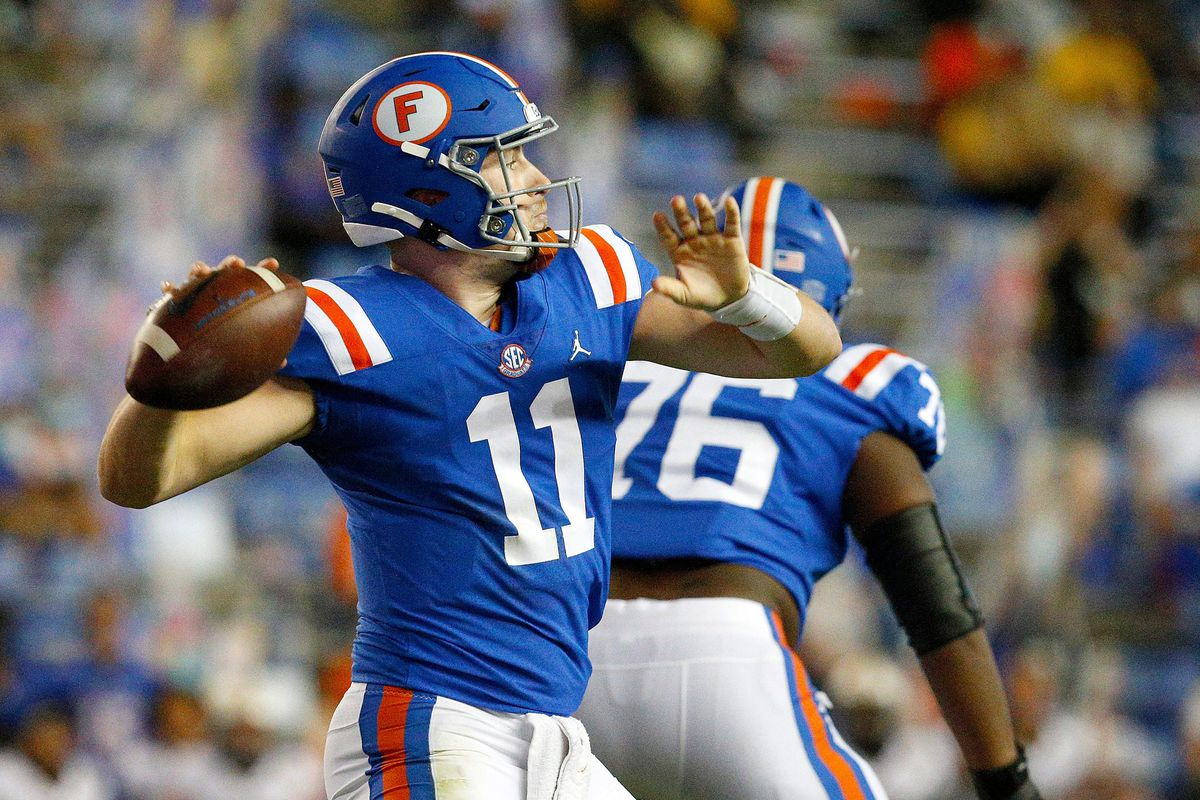 Florida quarterback Kyle Trask throws a pass during a game against the Missouri Tigers at Ben Hill Griffin Stadium.