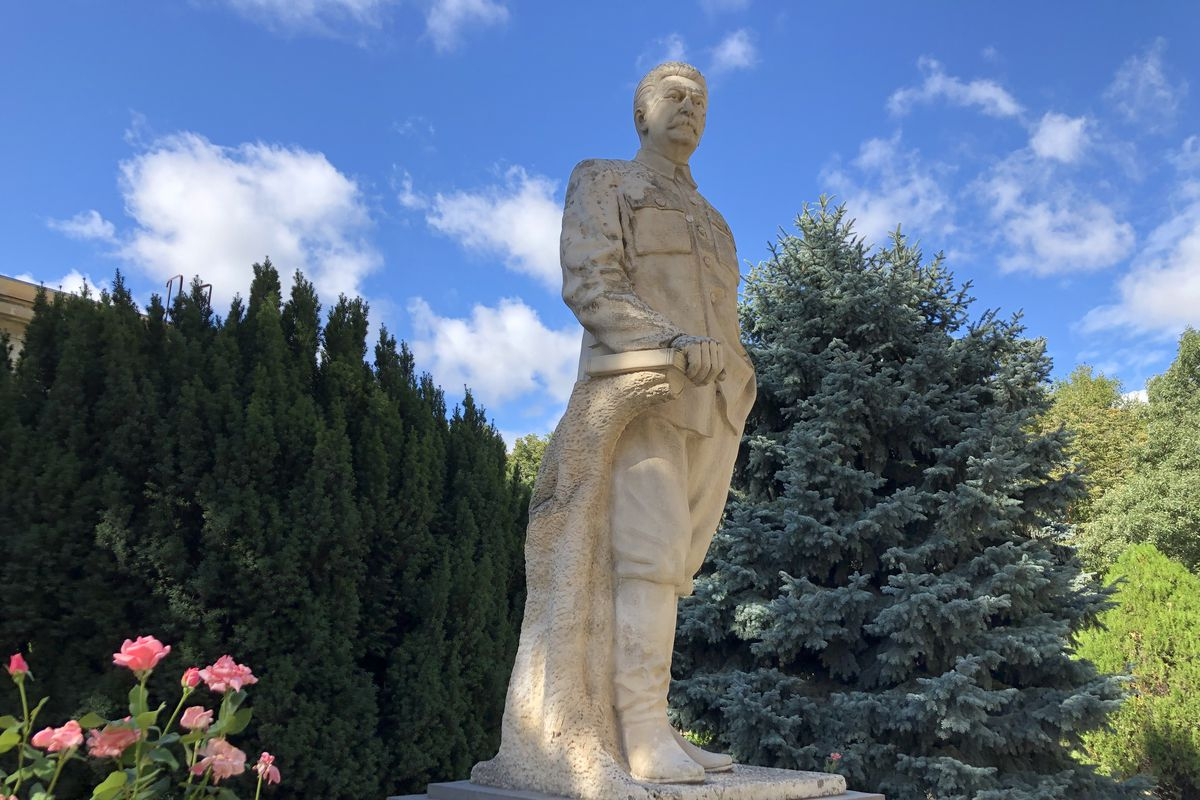 Joseph Stalin, immortalized in this statue outside the entrance to his museum in his hometown — Gori, Georgia. He's been dead for 68 years. But the Joseph Stalin State Museum remains very much a shrine to its namesake.