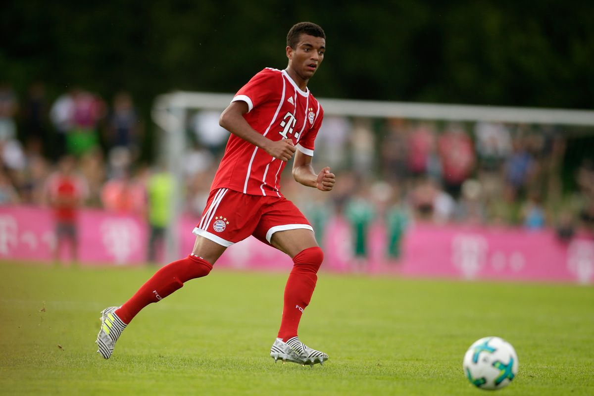 WOLFRATSHAUSEN, GERMANY - JULY 06: Timothy Tillman of Bayern in action during the preseason friendly match between BCF Wolfratshausen and Bayern Muenchen at on July 6, 2017 in Wolfratshausen, Germany.