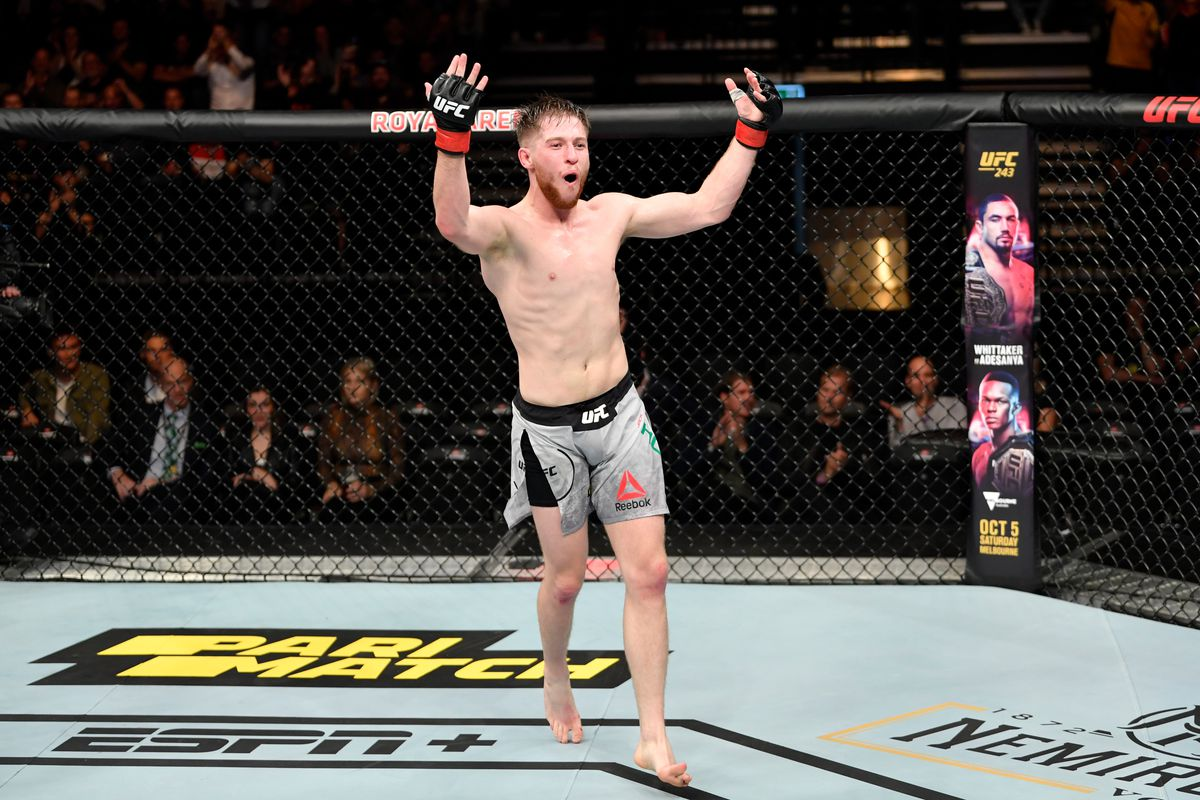 Jack Shore of Wales celebrates his submission victory over Nohelin Hernandez in their bantamweight bout during the UFC Fight Night event at Royal Arena on September 28, 2019 in Copenhagen, Denmark.