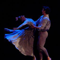 "Principal dancers Arolyn Williams and Christopher Ruud dance in Tomm Ruud's ""Ruth Ricordi per Due."""