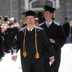 Students make their way to the Tabernacle for the LDS Business College's 126th commencement ceremony on Temple Square in Salt Lake City on Friday, April 12, 2013.