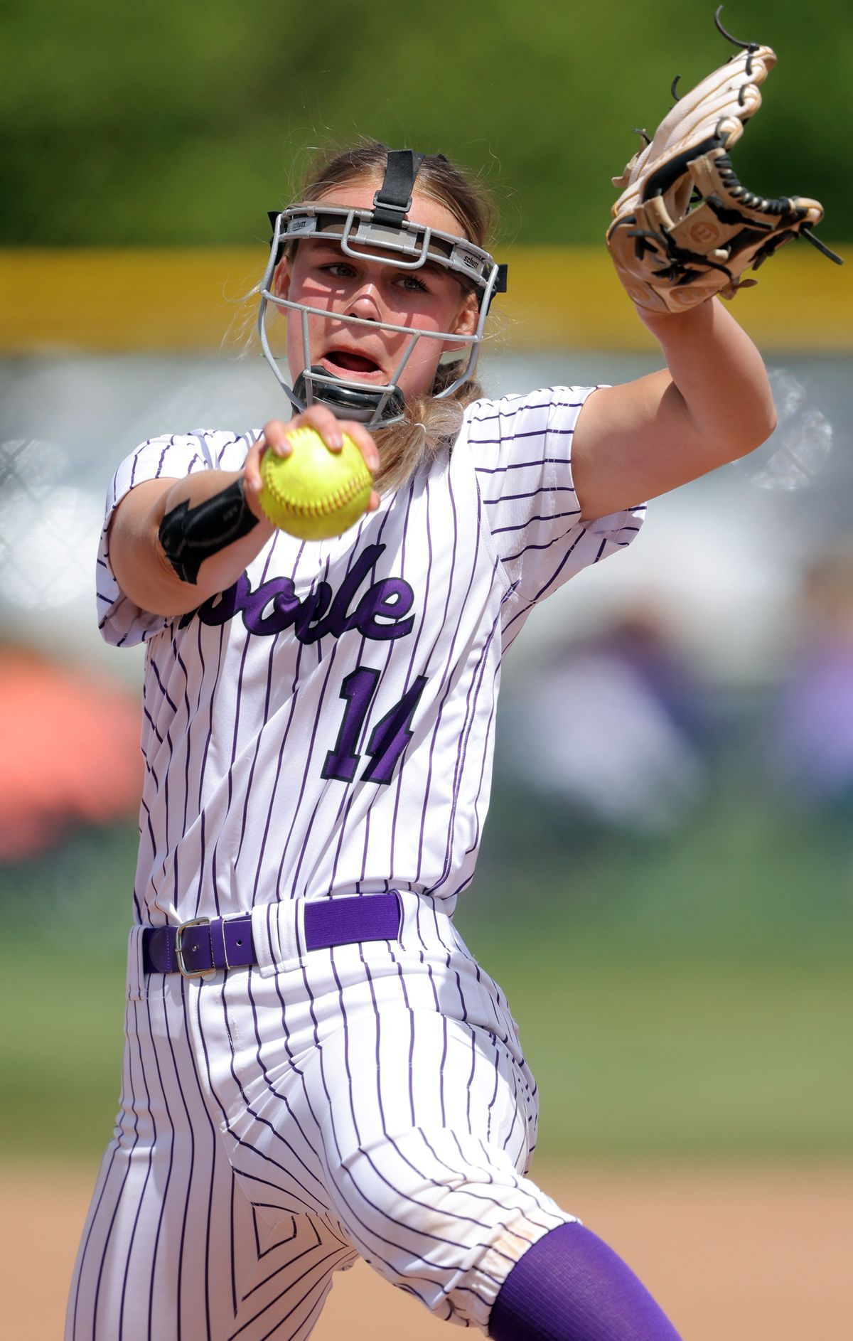 Tooele's pitcher Attlyn Johnston, sends a pitch as the Buffaloes and Bear River play for the 4A softball championship in Spanish Fork on Saturday, May 22, 2021. Bear River won both games.