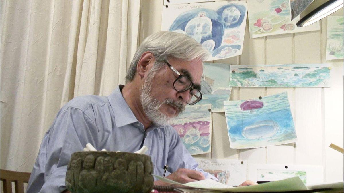 hayao miyazaki at work on an illustration