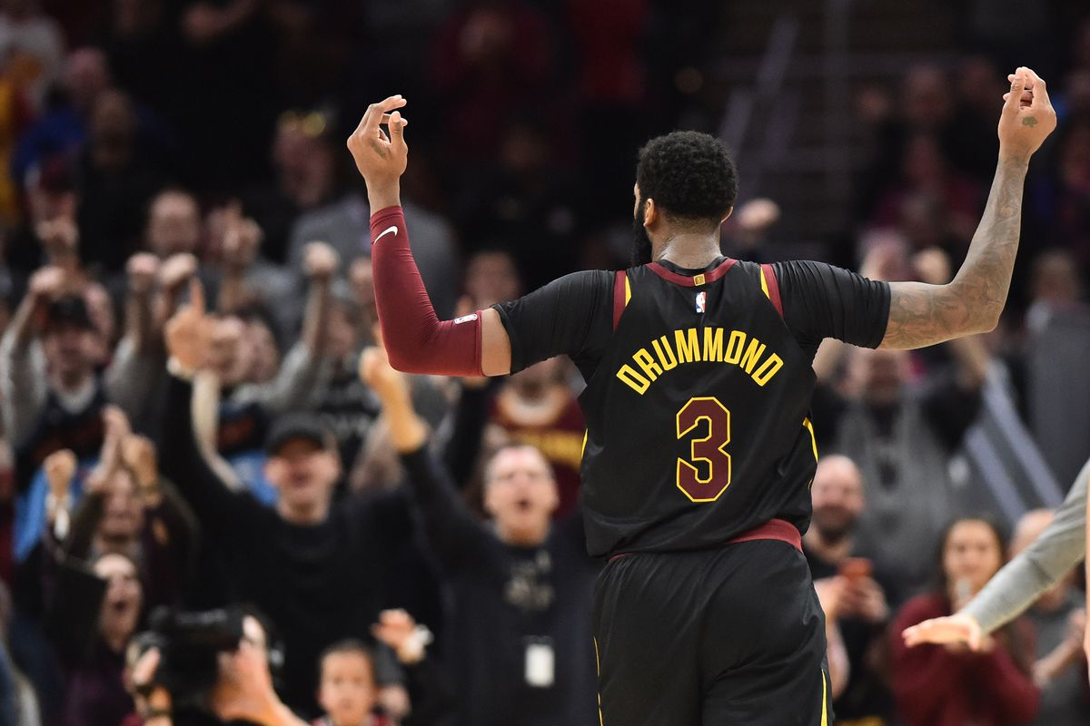 Cleveland Cavaliers center Andre Drummond (3) reacts after a basket during the second half against the San Antonio Spurs at Rocket Mortgage FieldHouse.