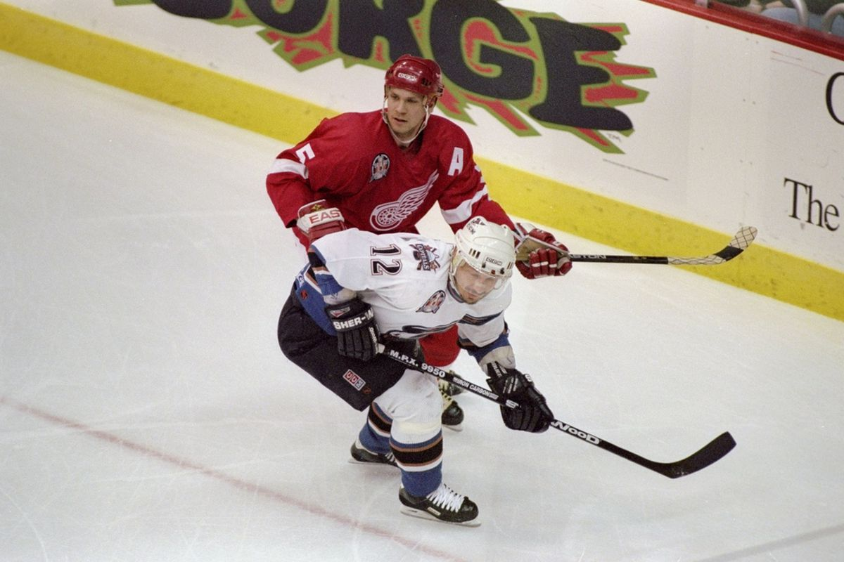 13 Jun 1998: Nicklas Lidstrom #5 of the Detroit Red Wings in action during the Stanley Cup Finals game against the Washington Capitals at the MCI Center in Washington, D. C.. The Red Wings defeated the Capitals 2-1. Robert Laberge/Getty Images