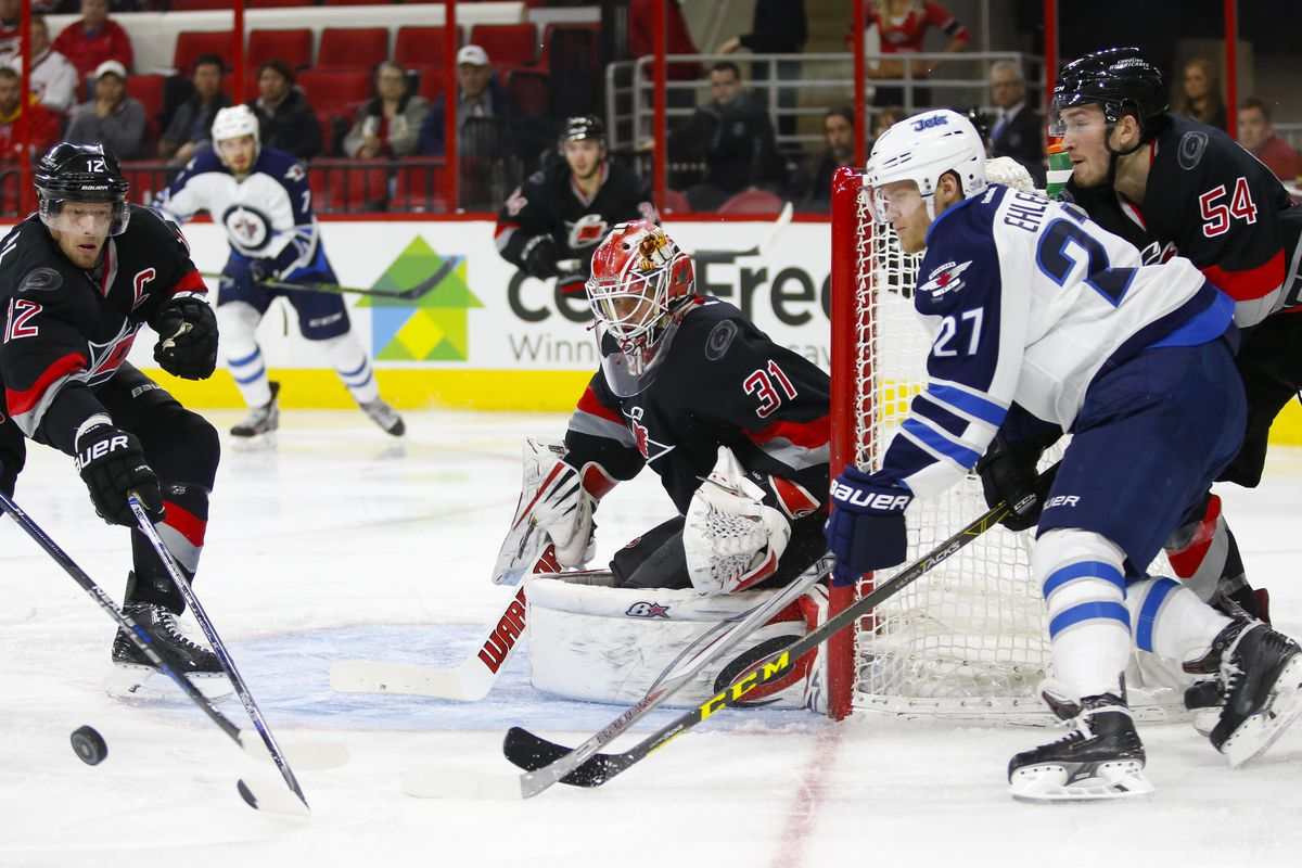 Eddie Lack earned his 10th win of the season Tuesday in Carolina's 2-1 victory over Winnipeg.