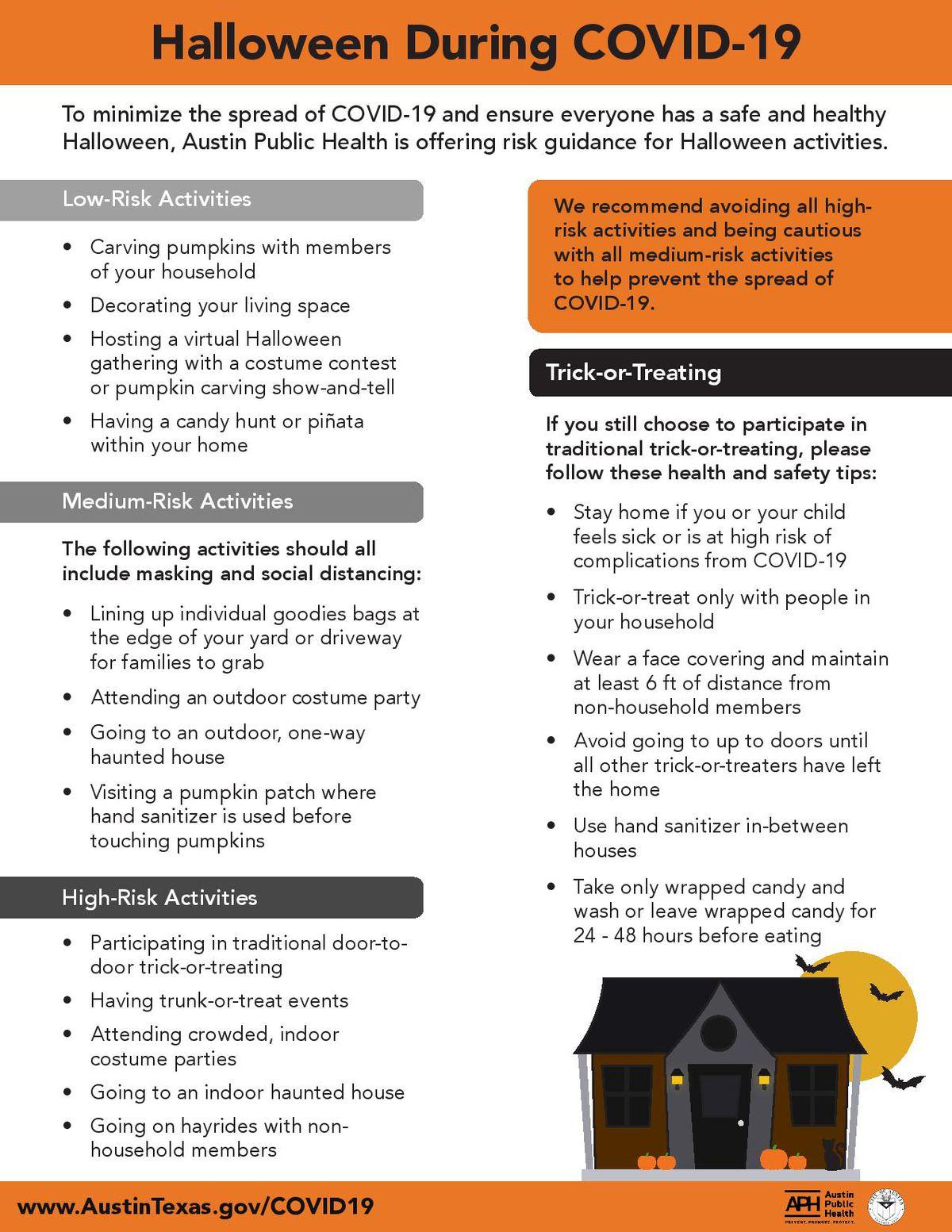 Austin Public Health's Halloween recommendations during the novel coronavirus pandemic