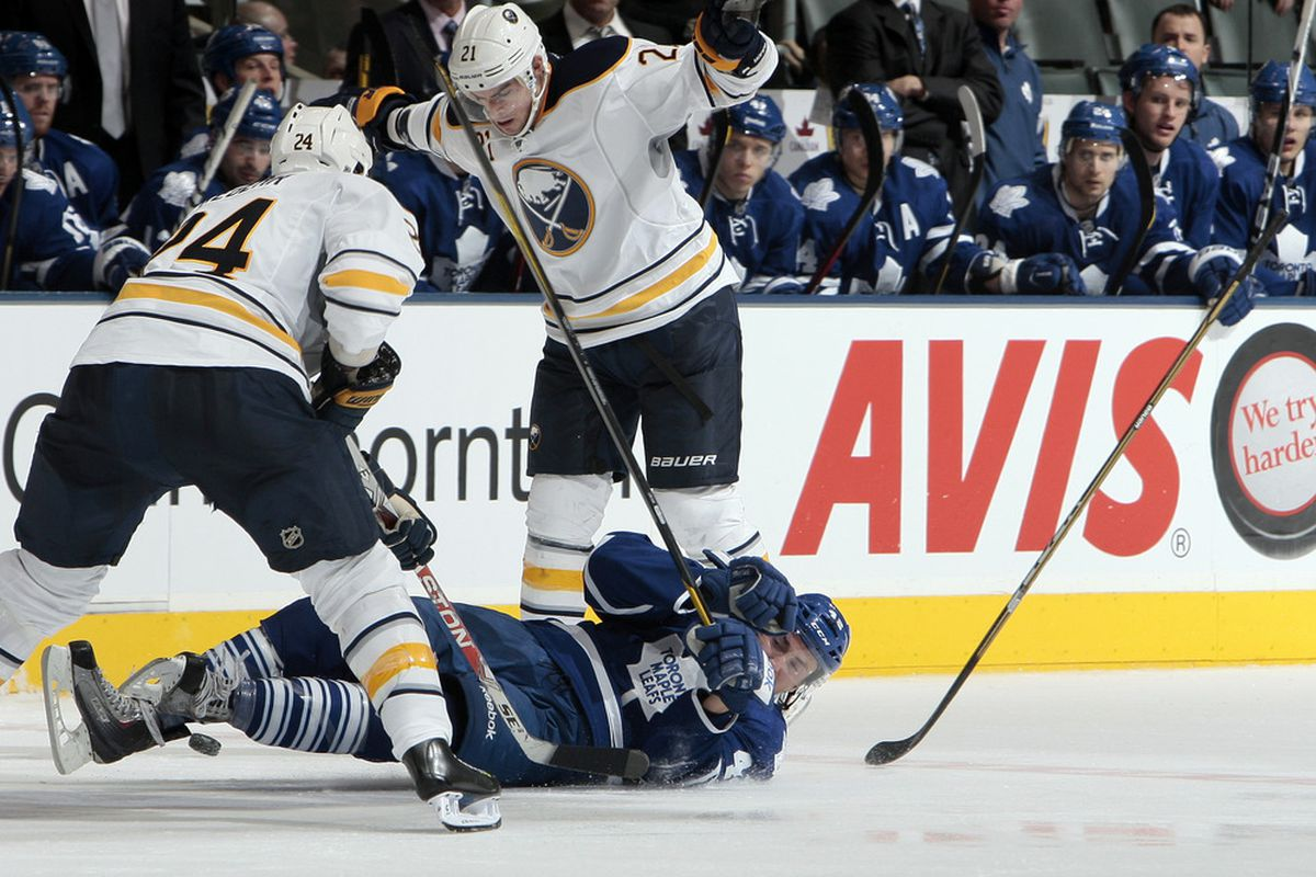 Buffalo Sabres knocked the Toronto Maple Leafs down plenty last night, but couldn't knock them out. (Photo by Abelimages/Getty Images)