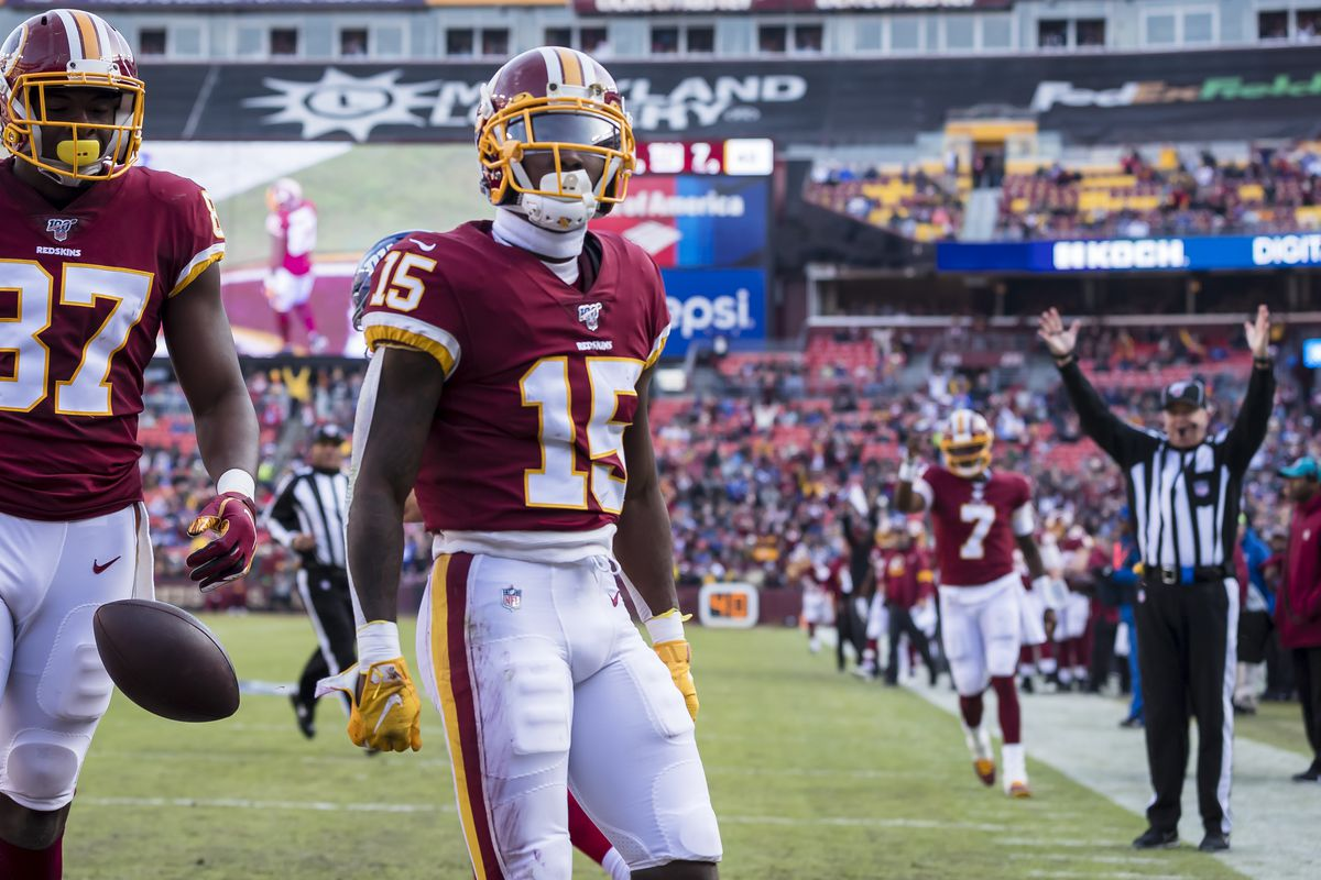 Steven Sims of Washington reacts after scoring a touchdown against against the New York Giants during the first half at FedExField on December 22, 2019 in Landover, Maryland.