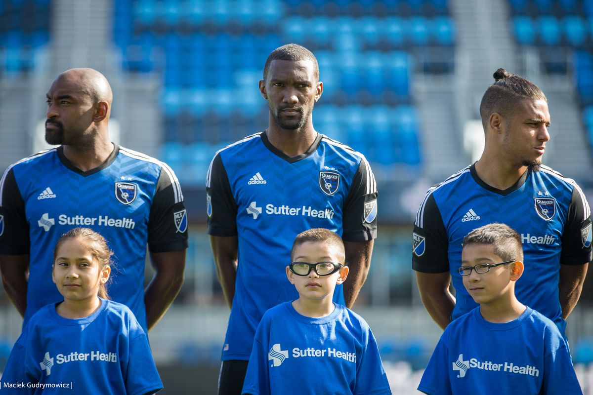 Earthquakes players model the new jersey sponsor