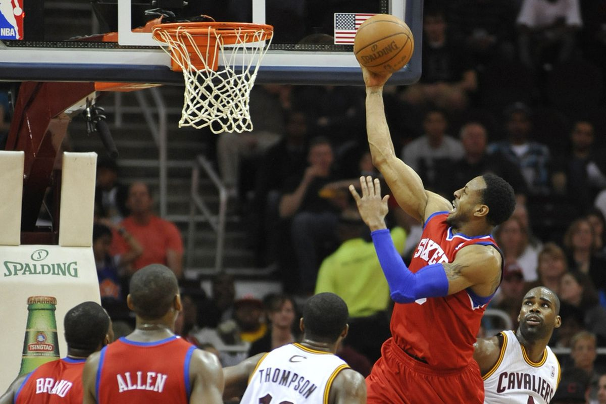 Apr 18, 2012; Cleveland, OH, USA;  Philadelphia 76ers small forward Andre Iguodala (9) drives against the Cleveland Cavaliers in the third quarter at Quicken Loans Arena. Mandatory Credit: David Richard-US PRESSWIRE