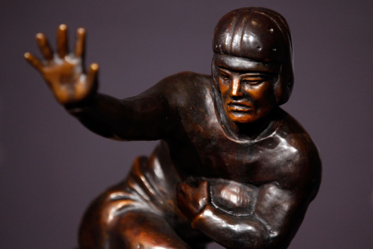 NEW YORK, NY - DECEMBER 10:  A detailed view of the Heisman Memorial Trophy after a press conference at The New York Marriott Marquis on December 10, 2011 in New York City.  (Photo by Jeff Zelevansky/Getty Images)