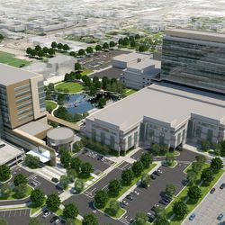 Master campus rendering, viewed from the northwest corner of the campus, looking south, reveals a new 12-story patient tower to the south and a new nine-story outpatient building to the east of the atrium. Occupying the space of the current tower will be a pond and walking path