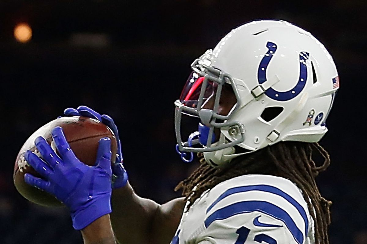 Wide receiver T.Y. Hilton of the Indianapolis Colts warms up before the game against the Houston Texans at NRG Stadium on November 21, 2019 in Houston, Texas.
