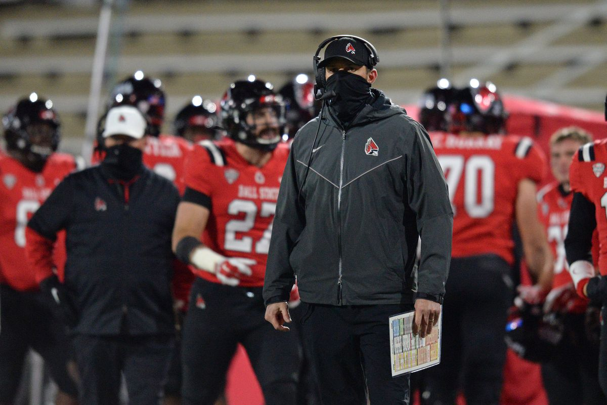 Ball State Cardinals head coach Mike Neu looks on during the Mid American Conference college football game between the Northern Illinois Huskies and the Ball State Cardinals on November 18, 2020, at Scheumann Stadium in Muncie, Indiana.
