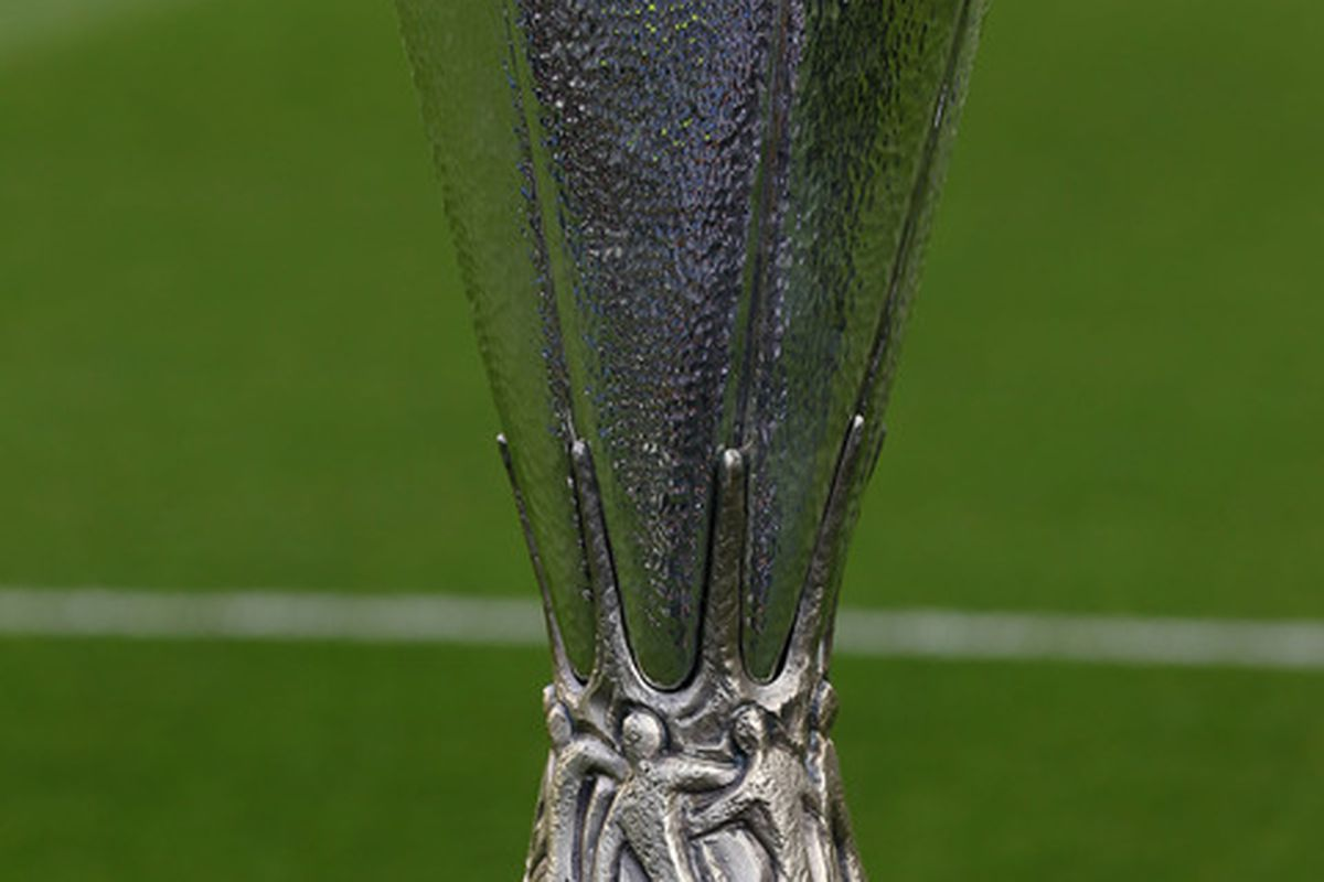 DUBLIN, IRELAND - MAY 18:  The UEFA Europa League cup is seen prior to  the UEFA Europa League Final between FC Porto and SC Braga at Dublin Arena on May 18, 2011 in Dublin, Ireland.  (Photo by Alex Livesey/Getty Images)