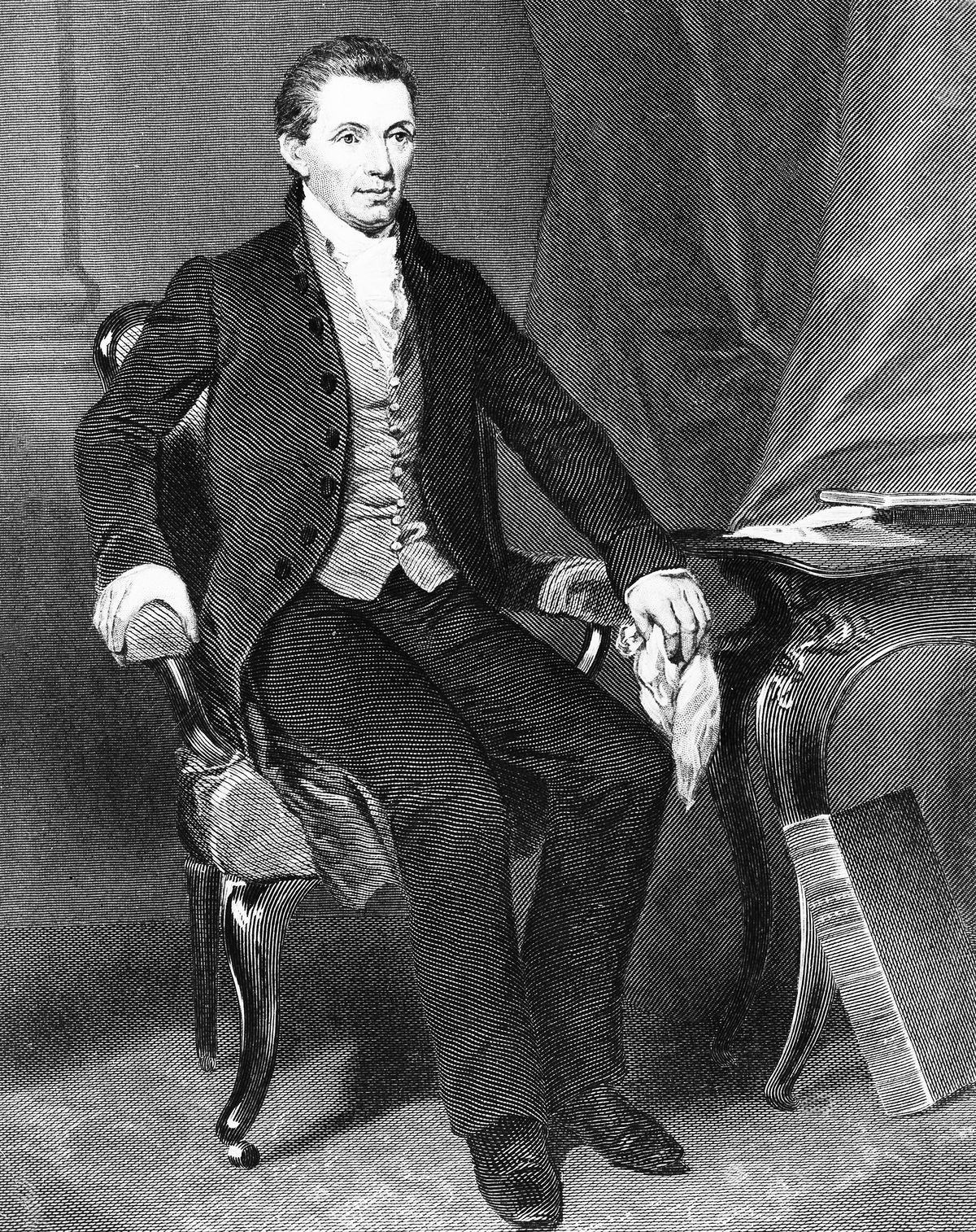 James Monroe wearing pants in another portrait.