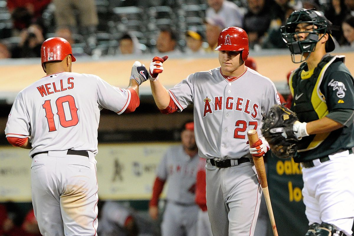 Mike Trout and Vernon Wells get into a brawl over who will man left field for the Angels in 2012.