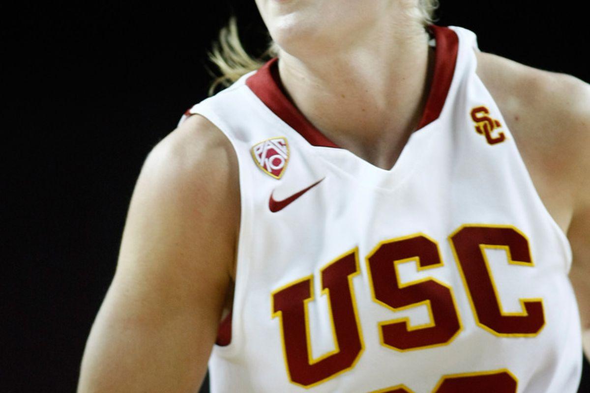 "Sophomore forward Christina Marinacci led an impressive rebounding effort for USC in their 60-51 win over Washington on Sunday. <em>Photo by <a href=""http://www.photoshelter.com/c/112575"" target=""new"">Craig Bennett/112575 Media</a>.</em>"