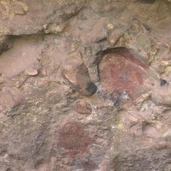 The U.S. Forest Service has launched an investigation into an unusual case of illegal graffiti written on top of an ancient rock-art panel, near Levan, Juab County, Thursday, Sept. 3, 2015. In the center, the reddish-colored Indian pictograph of a human.